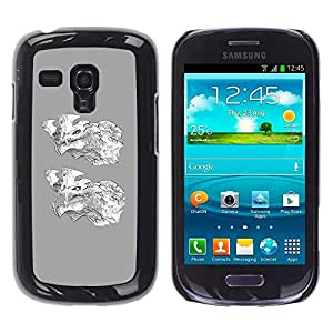 Be Good Phone Accessory // Dura Cáscara cubierta Protectora Caso Carcasa Funda de Protección para Samsung Galaxy S3 MINI NOT REGULAR! I8190 I8190N // Grey Wolf Cartoon White Characte