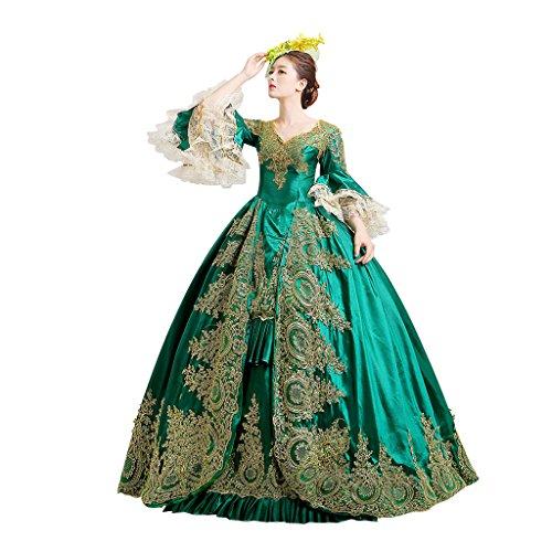 Prinzessin Mädchen Kleid Abendkleid Kostüm Königin Palace viktorianischen Kleid Cosplayitem Maskerade Gothic Damen Lagerter Grün 6cq5KBwP