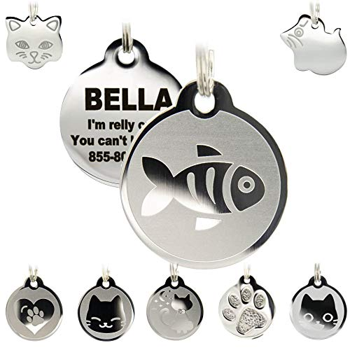 Stainless Steel Cat ID Tags - Engraved Personalized Cat Tags Includes up to 4 Lines of Text with Cat & Mouse Shapes