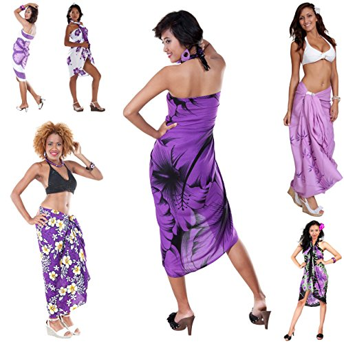 1 World Sarongs Womens Assorted Floral Cover-Up Sarong Pot Luck/Grab Bag Purple