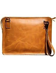 SEALINF Mens Leather Handbag Zipper Briefcase Shoulder Crossbody Messenger Bag