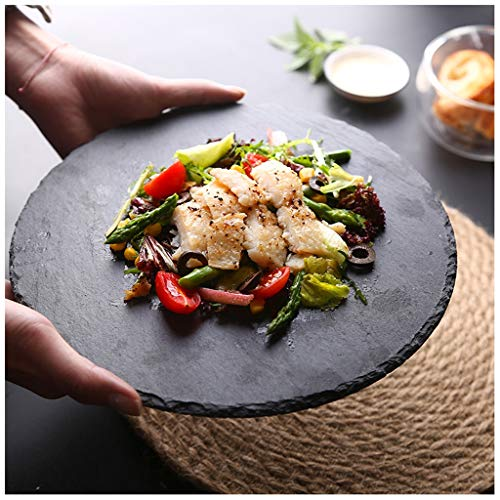 (SMC plates Fashion Personality Creative Round Plate Black Rock Plate Creative Western Food Tableware Irregular Cooking Dish Household Dinner Plate Dessert Plate Sushi Plate Sashimi (Size : 25cm))
