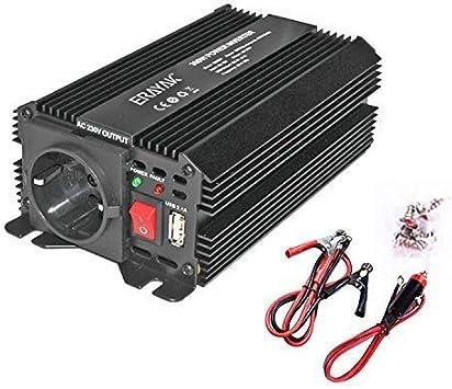 convertitore picco 600 W Erayak Inverter di corrente da 300 W trasformatore 12 V 220 V con porta USB con presa AC e accendisigari convertitore per auto