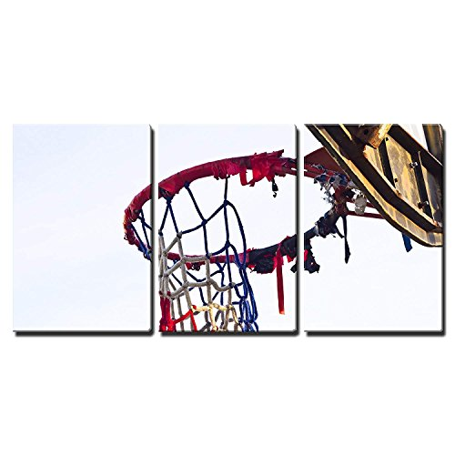 wall26 - 3 Piece Canvas Wall Art - The Old Basketball - Modern Home Decor Stretched and Framed Ready to Hang - 24