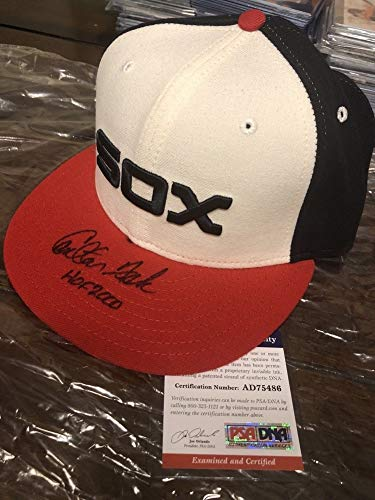 Carlton Fisk Autographed Signed White Sox New Era Hat PSA/DNA Authentic Hall of Fame Inscription