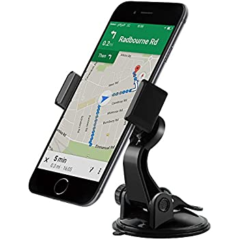 Dashboard Cell Phone Holder [Adjustable Arm & Spring Lock],Car Suction Cup Window Windshield Phone Mount Compatible with iPhone X 8 Plus 7 6S 6 5S SE, Dash Phone Mount with Sticky Dashboard Pad