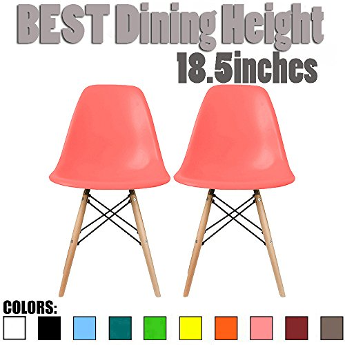 2xhome Set of Two (2) - Eames Side Chair Eames Chair Natural Wood Legs Eiffel Dining Room Chair - Lounge Chair No Arm Arms Armless Less Chairs Seats Wood Leg - Eiffel Wood