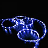 Solar Rope String Lights, MUEQU Waterproof 100 LEDs 39ft/12M Outdoor Decoration String Lights with PVC Tube Cover for Trees Patio Gardens Party Christmas Holiday Wedding (Blue)