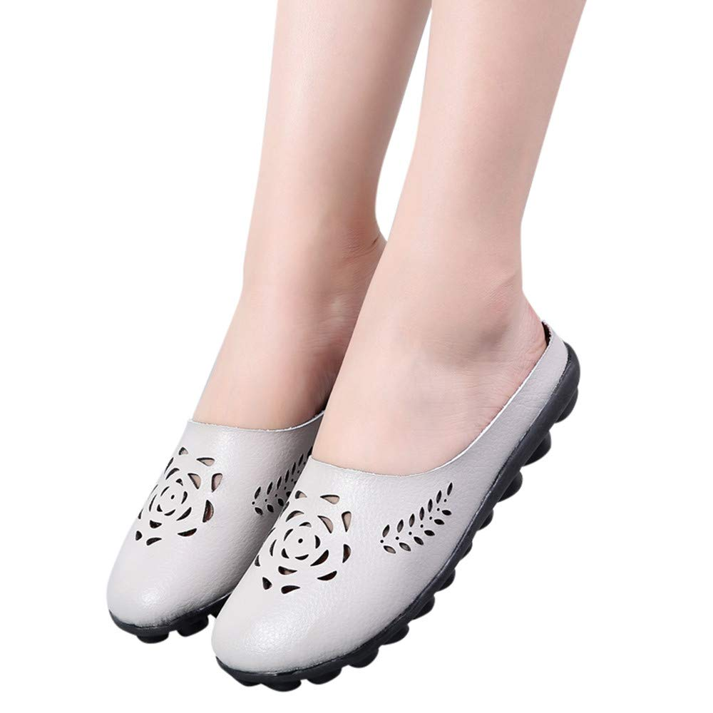 ▶HebeTop◄ Women's Hollow Faux Leather Backless Lazy Loafers Flats Slip On Mules Shoes Walking Slipper Gray by ▶HebeTop◄➟HOT SALES