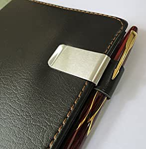 2x Pen Loop Traveler Notebook Leather Pen Holder with Stainless Steel Clip (Black)