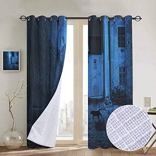 "NUOMANAN Bedroom Curtains 2 Panel Sets Urban,Black Cat Crossing Deserted Street at Night Mysterious Old European Town Alley, Blue Black White,Complete Darkness, Noise Reducing Curtain 100""x96"""