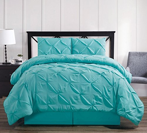 Oxford Decorative Pinch Pleat Comforter Set, 4 Pieces, Hypoallergenic Comforter, Down Alternative Fill, California King, Aqua
