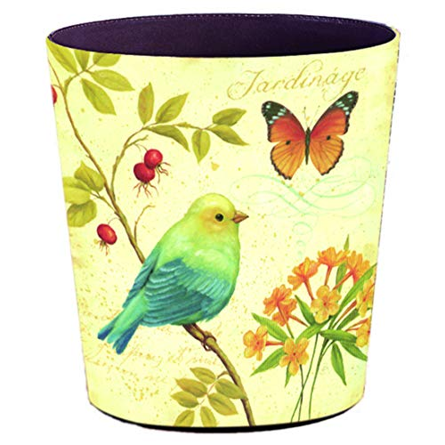 (Xshion Wastebasket,Retro Decorative Trash Can Waterproof PU Leather Waste Paper Basket Kitchen Garbage Can Office Waste Bin Living Room Recycle Bin Bedroom Dustbin Waste Container - Sparrow Butterfly )