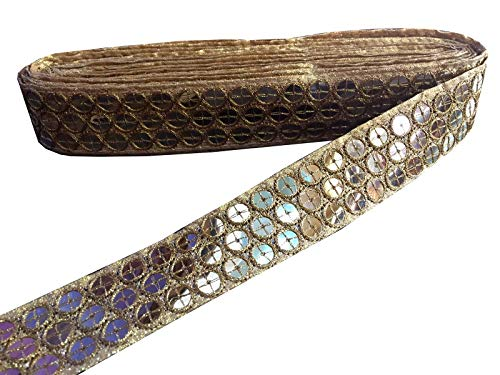 (Sequins Work Border by 9 Yard - Golden Sequins Work Gota Patti Lace,Glass Beads,Stone Work Bollywood Sari,Wedding Saree Border Embroidered Ribbons Indian Trim Embellishmets)