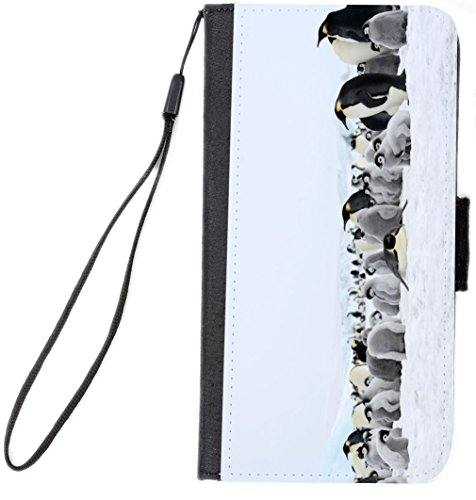 UKBK Emperor Penguins in Snow Design Galaxy S6 Edge PU Leather Wallet Flip Case with Kickstand and Magnetic Flap (for Samsung Galaxy S6 Edge ONLY) - Edge Snow Flaps
