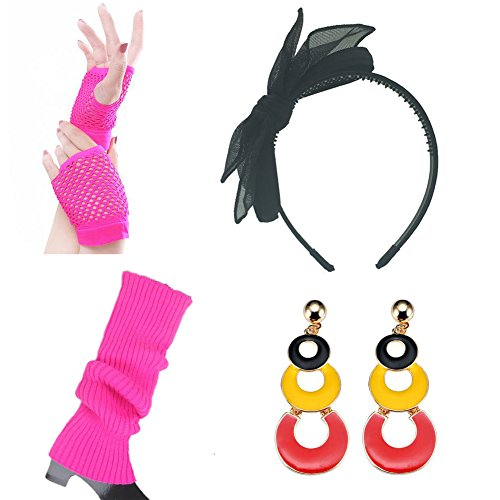 80s Fancy Outfit Accessories Set-For Women,Adult Tutu Skirt,Leg Warmers (80s Halloween Costumes Plastic)