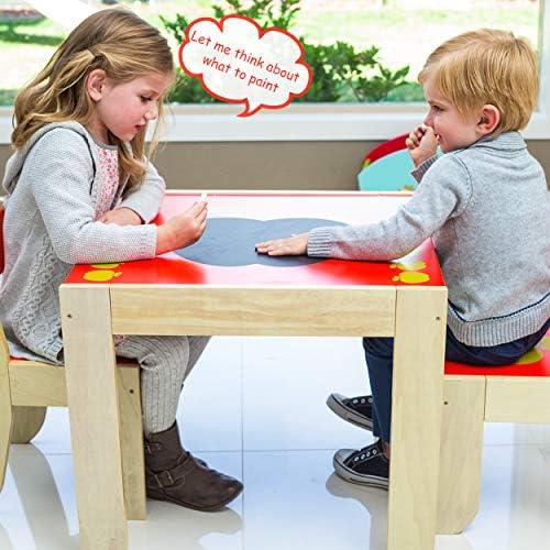 HONNIEKIS Table et Chaise en Bois pour Enfants Table Pomme et 2 chaises Jouet de Meubles pour Enfants