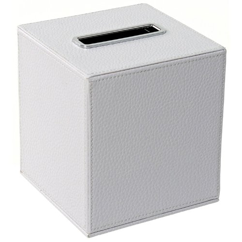 Gedy Alianto Color Square Tissue Box Holder Made from Faux Leather, White - Nameeks Box
