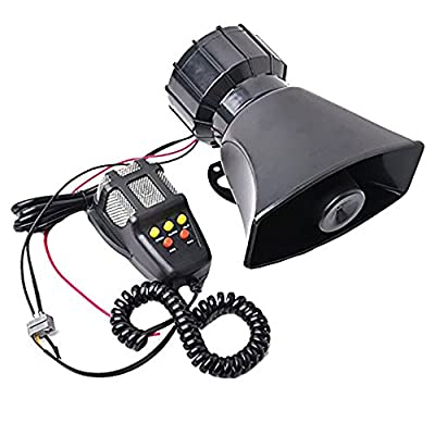 Hexautoparts 100W 12V 5 Sound Car Truck Alarm Police Fire Loud Speaker PA Siren Horn MIC System Kit