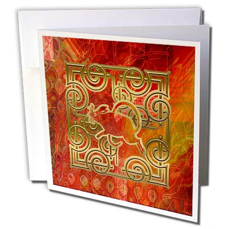 3dRose Beverly Turner Chinese New Year Design - Image of Orange, Gold Rat on Abstract Design, Chinese New Year - 12 Greeting Cards with envelopes (gc_306444_2) (Chinese New Year Rat)