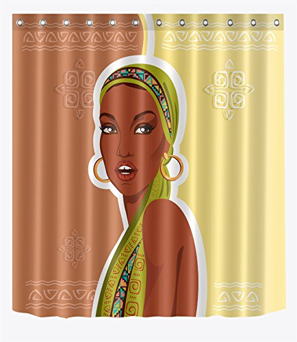 LB African Woman in Traditional Costume n Kerchief Shower Curtains for Shower Stall, Afro Lady Print Bathroom Decor, 70x70 Shower Window Curtain Waterproof Mold (Egyptian Cat God Costume)