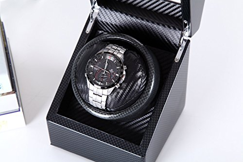 [Carbon New Style] Love Nest Carbon Fiber Wood Single Automatic Watch Winder Box Piano Finish Japanese Mabuchi Motor(power included) by LN LOVE NEST (Image #2)