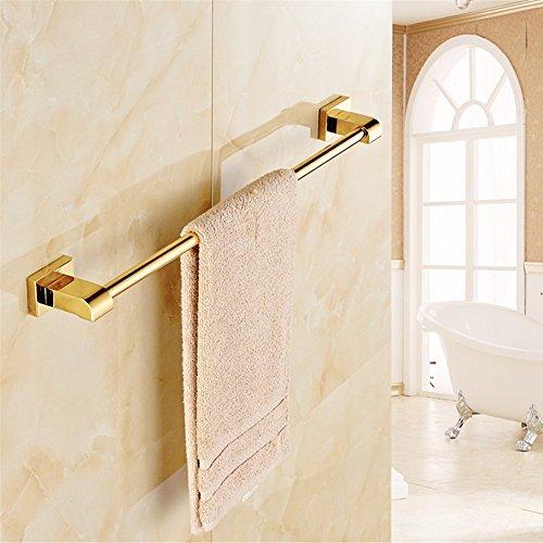 Leyden TM Luxury Gold Polished Brass Bathroom Single Towel Bar Wall Mount Towel Rack (Cabinet Select Wall Mount)