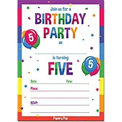 Papery Pop 5th Birthday Party Invitations with Envelopes (15 Count) - 5 Year Old Kids Birthday Invitations for Boys or Girls - Rainbow