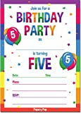 5th Birthday Party Invitations with Envelopes (15 Count) - 5 Year Old Kids Birthday Invitations for Boys or Girls - Rainbow