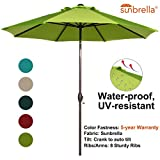 Abba Patio Sunbrella Patio Umbrella 9 Feet Outdoor Market Table Umbrella with Auto Tilt and Crank, Lime Green