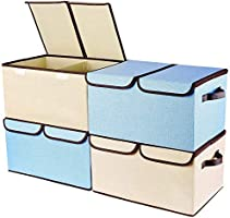 Larger Storage Cubes [4-Pack] Senbowe Linen Fabric Foldable Collapsible Storage Cube Bin Organizer Basket with Lid,...