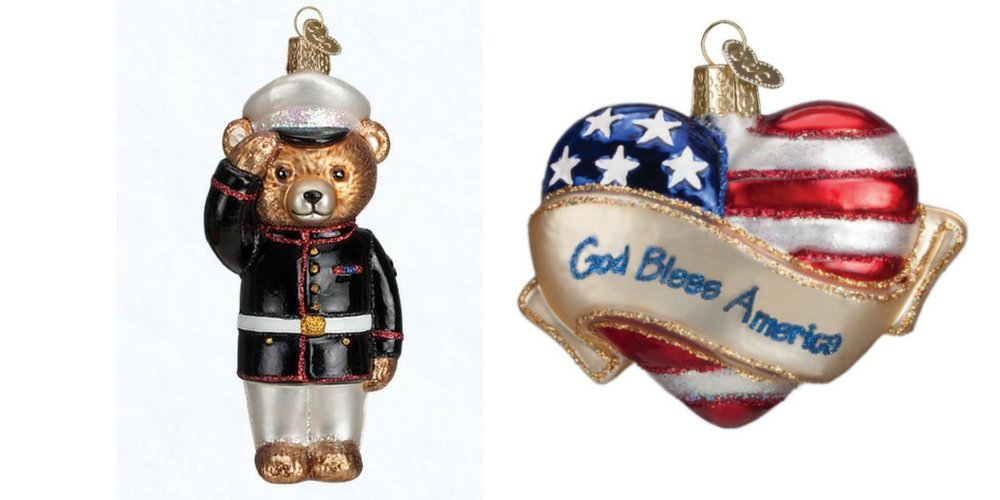 Old World Christmas Marine Bear and God Bless American Set of Glass Blown Ornaments by
