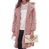 Manka Vesa Womens Fuzzy Faux Lamb Fur Coat Long Jacket Notched Lapel Mid Long Coat Pink