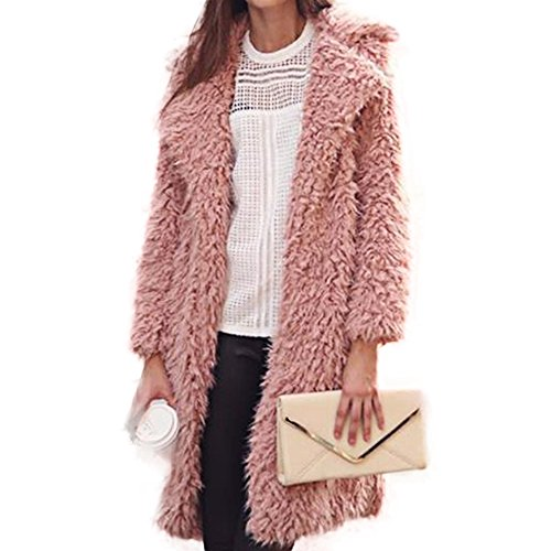 Manka Vesa Womens Fuzzy Faux Lamb Fur Coat Long Jacket Notched Lapel Mid Long Coat Pink