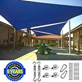 Quictent 26 X 20 ft 185G HDPE Rectangle Sun Shade Sail Canopy 98% UV Block Outdoor Patio Garden with Free Hardware Kit (Blue)
