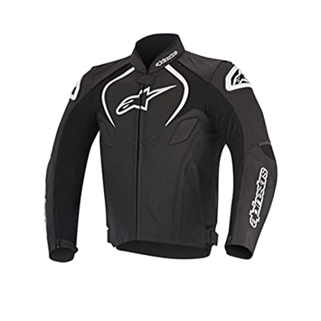 Alpinestars Mens Jaws Perforated Leather Jacket Black//White,EU 50