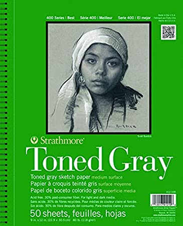 """50 sheets Gray Strathmore Recycled Toned Pad 400 Series 9x12/"""""""