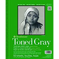 """Strathmore 30% Post Consumer Fiber Wire Binding Recycled Toned Sketch Pad, 412-109, Gray, 9""""x12"""""""