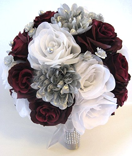 Amazon Wedding Flowers Silk Bridal Bouquet Burgundy Wine Silver