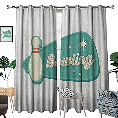 Warm Family Bowling Window Curtain Fabric Vintage Design in Traditional American Style Hobby Fun Sports Theme Drapes for Living Room W72 x L96 Seafoam Cream and Rust