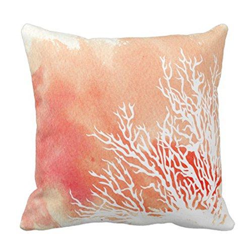 Emvency Throw Pillow Cover White Watercolor Splash Coral Reef Modern Beach Contemporary Decorative Pillow Case Home Decor Square 16 x 16 Inch Pillowcase