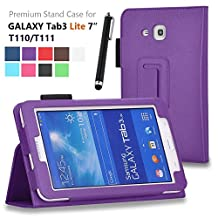 Asstar Galaxy Tab E Lite 7.0 Case, Premium Premium Folio Leather Case Cover for Samsung Galaxy Tab 3 Lite 7.0 SM-T110 / T111 7.0 Inch Android Tablet, Bundle with stylus touch pen (Purple)