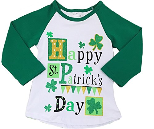 Boutique Clothing Girls St Patty's Day Raglan T-Shirt Happy St. Patrick's Day 12-18 Months/2XS