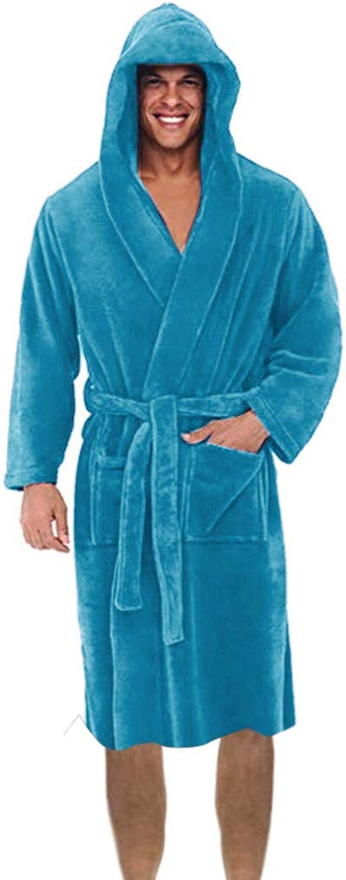 general3 Men Plush Fleece Robe Kimono Bathrobe Soft Shawl Long Sleeve Robe Collar Warm Robe Sleepwear Dress