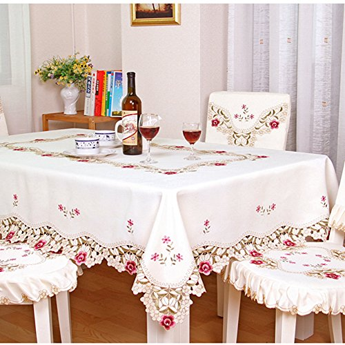 (iHappy Large Oblong Embroidery Floral Decorative Tassel Christmas and Thanksgiving Tablecloth 86x 59)