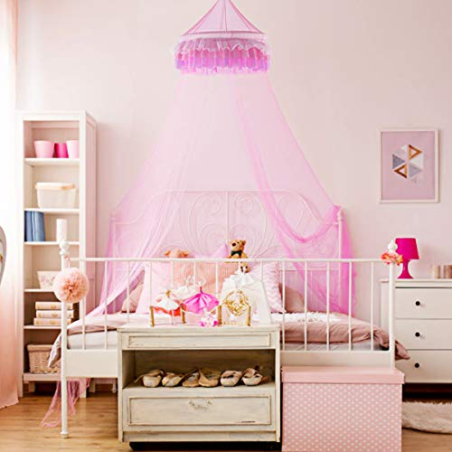 Goplus Bed Canopy, Princess Mosquito Netting Dome for Baby, Kids, Girls with Elegant Ruffle Lace, Indoor Outdoor Castle Play Tent Baby Crib Netting (Pink) -