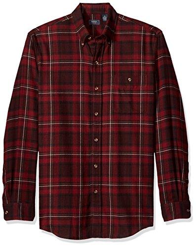 Arrow 1851 Men's Saranac Flannels Long Sleeve Button Down Shirt, Chocolate Truffle, -