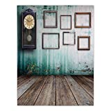 iPrint Satin Rectangular Tablecloth [ Clock Decor,A Vintage Clock and Empty Picture Frames in an Old Room Wooden Backdrop,Green and Brown ] Dining Room Kitchen Table Cloth Cover