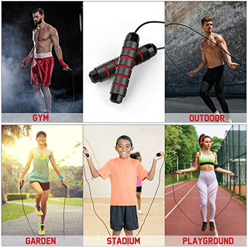 CLOUDZONE Skipping Rope,2 Pack Jump Rope Wear Resistant high Strength Adjustable for Gym School Family,Fitness and Slim,Jump Rope for Kids Adults Women and The Elderly