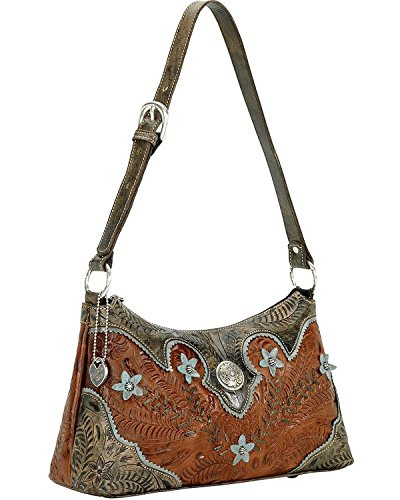 American West Desert Wildflower Zip top Shoulder Bag (Antique Brown/Distressed by American West